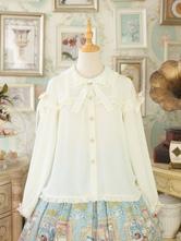 Camisa de Lolita clássico Anne's Breakfast Ribbon Bow Damasco Chiffon Lolita Top