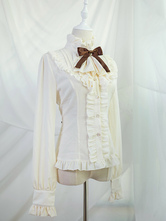 Camisa Lolita Clássica Folho Bow Lolita Apricot Blusa