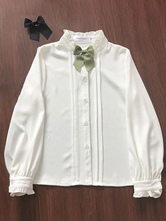 Clássico Lolita Blusa Ruffle Chiffon Branco Lolita Top