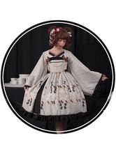 Clássico Lolita OP Vestido Vento História Imprimir Ruffle Bow Ecru Branco Lolita One Piece Dress