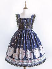 Sweet Lolita JSK Dress Cat Print Lace Trim Pleated Bow Blue Lolita Jumper Skirt