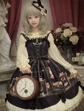 Clássico Lolita JSK Vestido Gato Earl Imprimir Bow Plissado Plissado Preto Lolita Jumper Saia