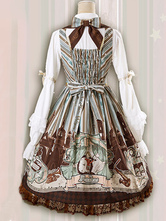 Vestido Lolita JSK clássico Mozart Imprimir Bow Lace Trim Plissado Apricot Lolita Jumper Saia