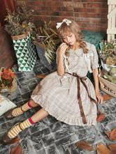 Lolita vestido clássico OP Anne's café da manhã folho xadrez algodão cinza Lolita One Piece Dress