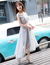 Prom Dresses Light Gray Asymmetrical Flowers High Low Cocktail Party Dress