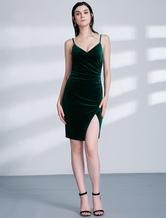 Tight Homecoming Dresses Hunter Green Velvet Slit Straps Short Cocktail Dress