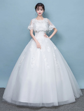Wedding Dresses Ivory Lace Poncho Style Tulle Floor Length Bridal Dress