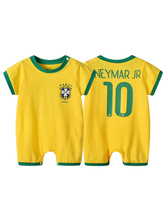 Halloween Costume Kids Neymar 2019 FIFA World Cup Short Sleeve Jumpsuits