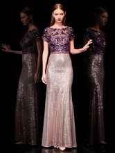 Robes de soirée dentelle robe de bal sirène paillettes brodée robe de soirée