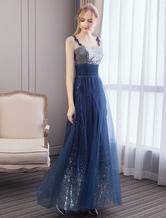 Prom Dresses Long Dark Navysequin Tulle Straps Maxi abito da sera formale