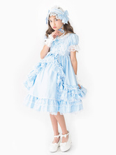 Rococo Lolita OP Dress Lace Trim Bow Ruffle Light Sky Blue Children Lolita One Piece Dress