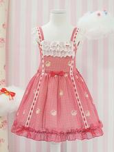 Sweet Lolita JSK Dress Lace Trim Bow Plaid Ruffle Coral Lolita Jumper Skirt Dress For Children