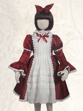 Sweet Lolita OP Dress Ruffles Bow Two Tone Burgundy Lolita One Piece Dress