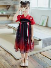 Chinese Style Lolita Dress OP Ombre Pleated Burgundy Children Lolita OP Dress