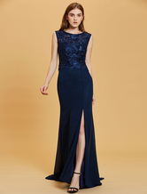 Evening Dresses Dark Navy Lace Chiffon Split Illusion Formal Gowns With Train