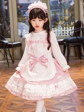 Sweet Lolita JSK Dress Bow Ruffle Pink Cotton Toddler Lolita Jumper Skirt