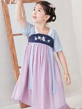 Chinese Style Lolita Dress OP Embroidery Pleated Lilac Chiffon Children Lolita OP Dress