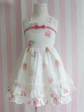Sweet Lolita Dress JSK Print Bow Ruffle White Cotton Toddler Lolita Jumper Skirt