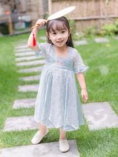 Chinesische Art Lolita OP Kleid Chiffon Stickerei gefaltetes hellblaues Kleinkind Lolita einteiliges Kleid