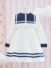 Sailor Style Lolita OP Dress Stripe Two Tone Cotton White Children Lolita One Piece Dress