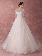 Свадебные платья с шампанским Принцесса Бальное платье Свадебное платье Кружевные тюль Бисероплетенные роскошные свадебные платья Maxi