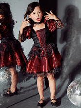 Lolita Dress For Children Gothic Lolita OP Dress Lace Trim Shimmering Burgundy Lolita One Piece Dress