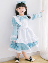 Lolita Dress For Children Maid Lolita Outfit Lace Ruffle Bow Lolita One Piece Dress