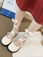 Sweet Lolita Footwear Lace Up Tie Leg Round Toe PU Lolita Shoes