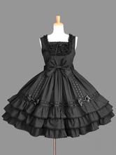 Sweet Lolita JSK Robe à lacets à volants en coton noir Lolita Jumper Jupe