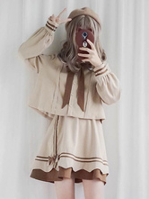 Sweet Lolita Outfit Almond Cocoa Bow Stripe Pleated Apricot Lolita Set