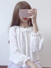Sweet Lolita Top Frill Pleated Chiffon White Lolita Blouse