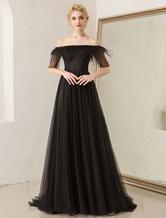af83133744c4a9 Prom Dresses Off Shoulder Black Abendkleid Federn Tulle Half Sleeve Formale  Kleider mit Zug