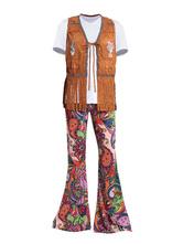 Costume rétro disco des années 1970 Déguisements Halloween hommes glands pantalon imprimé floral haut gilet 3 pièce