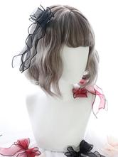 Sweet Lolita Wig Flaxen Blunt Bang Laze Curl Short Lolita Wig