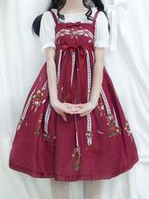 Sweet Lolita JSK Dress Print Bow Pleated Lolita Jumper Skirt