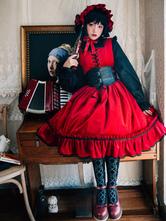 Gothic Lolita JSK Dress Velour Lace Up Ruffle Pleated Burgundy Lolita Jumper Skirt
