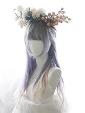 Sweet Lolita Wig Highlight Blunt Fringe Natural Wave Long Lolita Hair Wig