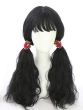 Black Lolita Wig Wispy Fringe Lazy Curl Sweet Lolita Long Hair Wig