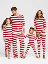 af106cb11f Pijamas de Familia un Juego Navidad Madre Rojo Algodón Rayado Pantalones y  Top 2 Piezas Juego
