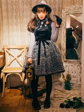Classic Lolita JSK Dress Velvet Jacquard Black Lolita Jumper Skirt