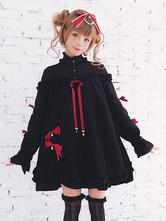 Sweet Lolita OP Dress The Blazing Star Bow Ruffle Pleated Black Lolita One Piece Dress