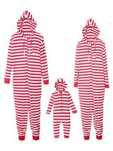 Женские семейные пижамы, подходящие к Рождеству, комбинезоны с капюшоном в красную полоску для матери