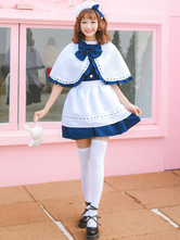 Maid Lolita Outfit Frill Bow Blue Lolita OP Dress With Cape And Apron