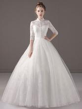 Принцесса Свадебные платья Бальное платье Ivory Half Sleeve Высокое ошейник Lace Tulle Замочная длина пола Свадебное платье