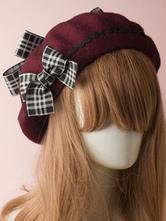 Classic Lolita Beret Plaid Bow Wool Burgundy Lolita Bowler Hat