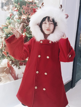 Classic Lolita Peacoat New Year's Day Reindeer Furry Hood Double Breasted Wool Red Lolita Overcoat