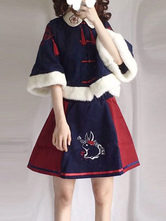 Chinese Style Lolita Outfit Lunar Book Tassel Furry Embroidery Lolita Top With Skirt