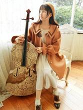 Классическая латунная пальто Caramel Macchiato Bow Pleated Brown Lolita Coat