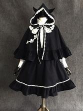 Gothic Lolita Poncho Little Devil Lace Trim Orelha com Capuz Algodão Preto Capa Lolita
