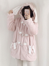 Sweet Lolita Coat Bunny Hood Fleece Pink Lolita Overcoat